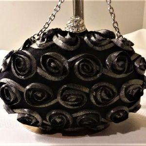 Black and Silver Rose bud Wedding Clutch